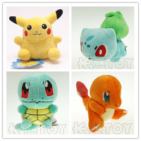 4pcs/lot Pokemon Plush Toys 15cm Size Pikachu & Bulbasaur & Squirtle & Charmander Gift Plush Toys