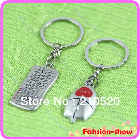 1 Pair Beautiful Keyboard And Mouse Pendant Key Chain Keyring Keyfob Girl boy Lover Gift Free Shipping(China (Mainland))