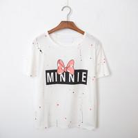 Summer 2015 Women Casual Shirts Minni Mouse Korean Cute Shirt High Street Goth Punk Fashion 0205H