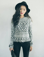 Free Shipping Fashion New Women Vintage Knitwear Pullover Sweater Casual Tassel Loose Tops yw15039
