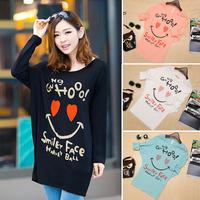 Women Clothing Free Shipping New 2015 Fashion T Shirt Women Batwing Sleeve Smile Pattern Casual Tshirt Long Sleeve Loose Tops