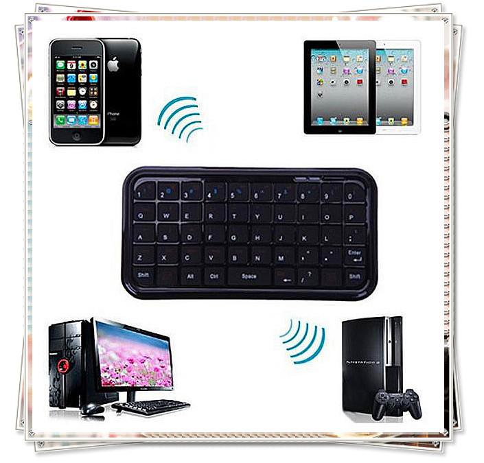 Mini Slim pocket Wireless Bluetooth Keyboard For computer Smart Phone black new free shipping(China (Mainland))