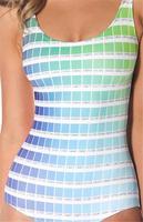 Hot New Sexy Bikini Piece Beach Wear Hex Colourful Gradient Plaids&Checks Green Swimsuit Swimwear Women S125-229