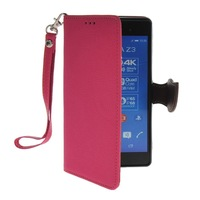 Litch Skin Premium PU Leather Wallet Pouch Flip Bracket TPU Case Cover For Sony Xperia Z3