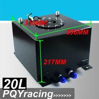 J2 RACING STORE-BLACK 20L Aluminium Fuel Surge tank mirror polish  Fuel cell  with sensor foam inside PQY-TK39BK