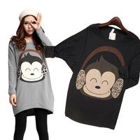 2015 Spring Women Casual Cotton Loose Batwing Sleeve T Shirt Long Sleeve Monkey Print Loose Tops Women Clothing Roupas Femininas