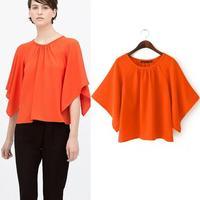 2015 New Women's Blouses Shirts Chiffon Flouncing Bat sleeve Blouse Ladies O-neck Tops red blouse Bat Sleeve brand shirts female