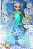 Kids Educational English Lerning Toy machine action figure Elsa & Anna plastic Baby Toy doll learning story,music, with light