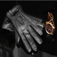 2015 Hot Sales Real Leather Gloves Men Handmade Pieces Of Genuine Sheepskin Gloves Mittens Winter Glove men best gift