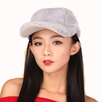Women's Rex Rabbit Fur Peaked Caps Baseball Caps Multicolor