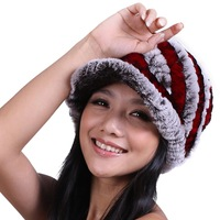 Women's Rex Rabbit Fur Knit Riding Hat Multicolor