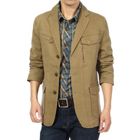 UDOD Brand Spring Autumn Stylish Mens Blazers Slim Casual Suits Jacket Mens Trendy Blazers100% Cotton M L XL XXL XXXL JR13730