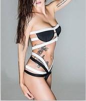New 2015  Bikini Set  Summer Women Beach Swimwear Bikini Sexy Fashion Women Sexy Black White Strappy High-waisted Bikini LC41064