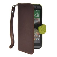 Litch Skin Premium PU Leather Wallet Pouch Flip Bracket TPU Case Cover For HTC One 2 (M8)