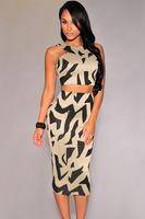 Beauty online new 2015 Summer Fashion Sleeveless Dress Sexy High Waist Gray Irregular Print Racer Back Dress Set LC60057