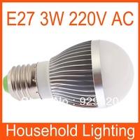 Ultra Bright E27 Dimmable Globe LED bulb lamp 220V 3W white/warm whIte Free Shipping 82089 82090