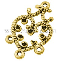 valentine promotion Chandelier Components, Valentine Ornaments, Alloy, Heart, Antique Golden, Nickel Free, about 31.5mm long