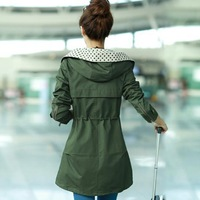 Autumn outfit new han edition South Korea cultivate hooded women's trench coat in big yards long sleeve coat
