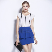 2015 NEW Women High Elastic Sexy Ruffled Pleated Pencil Peplum  Female Girl Black Blue White  Skirt Fit For XS-M