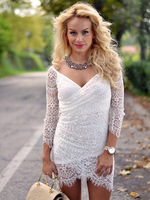 In Stock White Sweet Thing Lace Off Shoulder Wrap V-neck Long Sleeve Mini Bodycon Dress 2015 Spring New Free Shipping