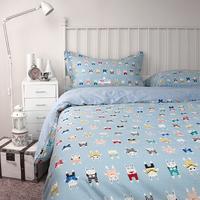 Korean Fashion Cute Cartoon Mr. Rabbit 100% Cotton 4pcs Set Beddings Home Textile -Duvet Cover Bed sheet Pillowcase Blue