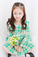 A -Line children dress Lovely falbala plaid girl dress, the new spring 2015, cotton loose princess dress