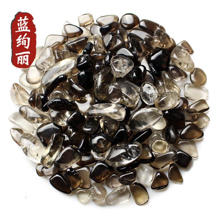 Blue gorgeous natural tea crystal shades of brown gravel material smoky quartz smoky quartz stone decorative aquarium shop(China (Mainland))