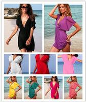 Hot Sale ! Summer Dress Loose Sexy V-Neck Vestidos Swimwear Dress Beach Dress Dresses For Women Shipping Free  Mix 14 Colours