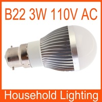 Ultra Bright B22 Dimmable Globe LED bulb lamp 110V 3W white/warm whIte Free Shipping 82093 82094