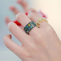 Korean New Fashion Boho Rings for Women Flower Hollow Out Rhinestone Rings Vintage Jewelry 4 Colors RI039