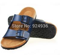 Free Shipping New 2015 Fashion Men Slipper Birkenstock Summer Beach Sandals Lovers Buckle Slides Cork Shoes Plus Size 11 Color