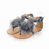 New Fashion Bohemia Women Beaded Floral Flip-flops Flat Women's Summer Shoes Sweet Women Flower Flat Sandals Big Size 34-43