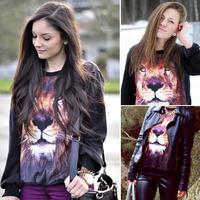 Feitong 2015 SlimS Stylish Womens Long Sleeve 3D Lion Print Black Jumper Pullover Sweatshirt Tops Free shipping & wholesale