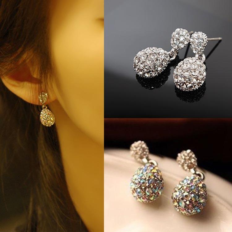 New Hot Sale Fashion Cute Lady Crystal Rhinestone Studs Earrings Girls Jewelry 2 Colors Drop Shipping EAR-0128\br(China (Mainland))