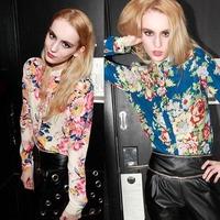 2015 Slim Women Chiffon Floral Print T-Shirt Long Sleeve Casual Tops Blouse Freeshipping&wholesale