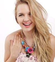2015 New Design Brand Paint Metal Flower Necklace Luxury Women jewelry Crystal Necklaces Pendants