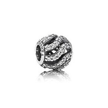 Diy crystal beads foe Women 925 Sterling Silver Beads Fit pandora Openwork Sparkling Waves Charm Fit Charm Bracelets SS2794