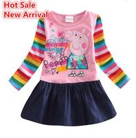 Best Quality 2015 spring autumn peppa pig baby girl dress colorful long sleeve kids dresses girls vestidos peppa kid clothing