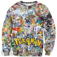 WOMEN/MEN   3D Cartoon Pokemon Invasion pikachu  Sweatshirts Totally 90's Crewneck