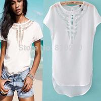 2015 New Tees Blouse Fashion Tops T Shirt Women Hot Sales Chiffon Dress Hollow Laser Engraving Summer Women T-Shirts b9005