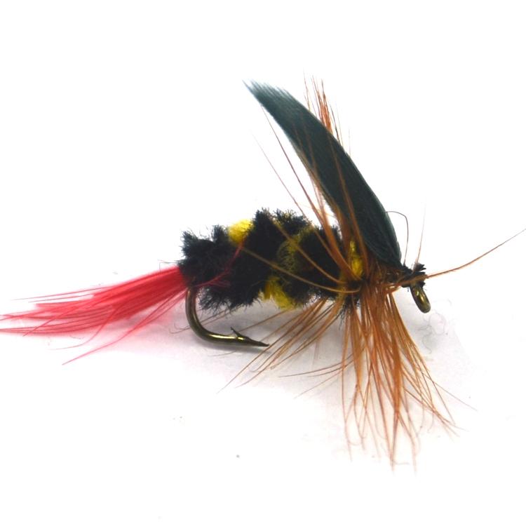 10 шт. [ 8# ] желтый и черный красный хвост би Fly форель бас ...
