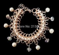Originality Convenient Simulation-Pearl Glass Bracelets Fashions Bride Bangles For Women Children Wedding Party Banquet Travel