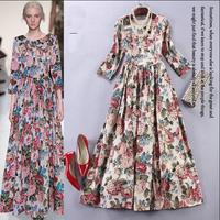 2015 Europe Runway Designer High Quality Long Dress Women's Three Quarter Sleeve Colorful Floral Print Maxi Long Dress