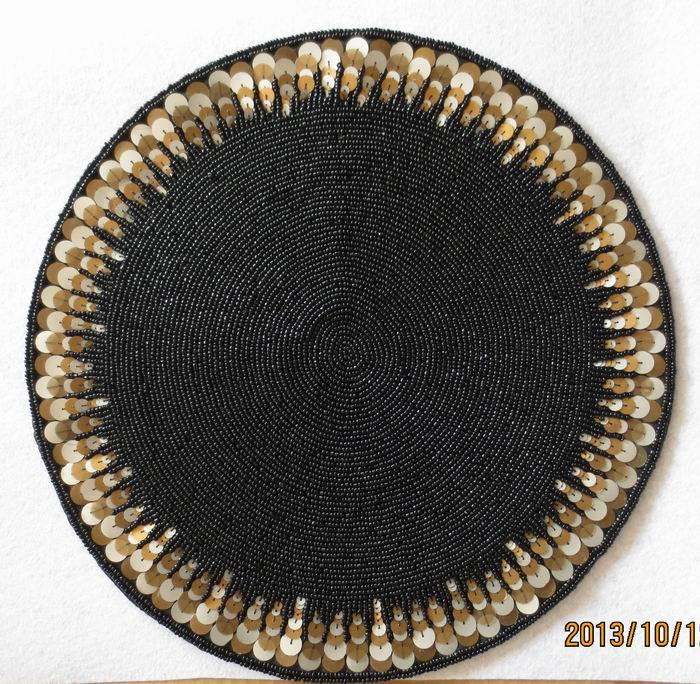Handmade luxury bead coasters black doilies round table mat Kitchen accessories accesorios de cocina placemats for table m101687(China (Mainland))