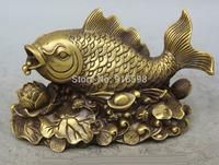 "8"" Chinese Copper Wealth Money lotus leaf flower Fish barracuda Statue sculpture"