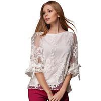 8815  New 2015 Spring Women Embroidered Chiffon Blouse European Style Loose Bottoming Casual Shirt Blusas Femininas