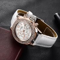 New Arrival Fashion Leather Strap Gold Watch Women Quartz Dress Watch Luxury Rhinestone Casual Wrist Watches relogio feminino