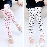 Pls buy any 2pcs in shop 2015  spring autumn star Size100~140 girls leggings children pants child trousers red legging
