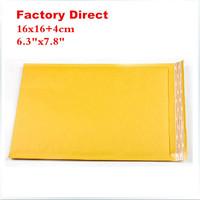 "Free shipping 16cmX20cm 6.3""X7.9"" 50 pcs yellow high quality thick kraft Bubble Mailers Padded Envelopes air Bags 16cmx16cm+4cm"