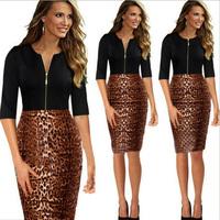 New Fashion Women Dress Work Elegant Patchwork Stretch Bodycon Zipper Leopard Business Casual Office Formal Party Pencil Dress